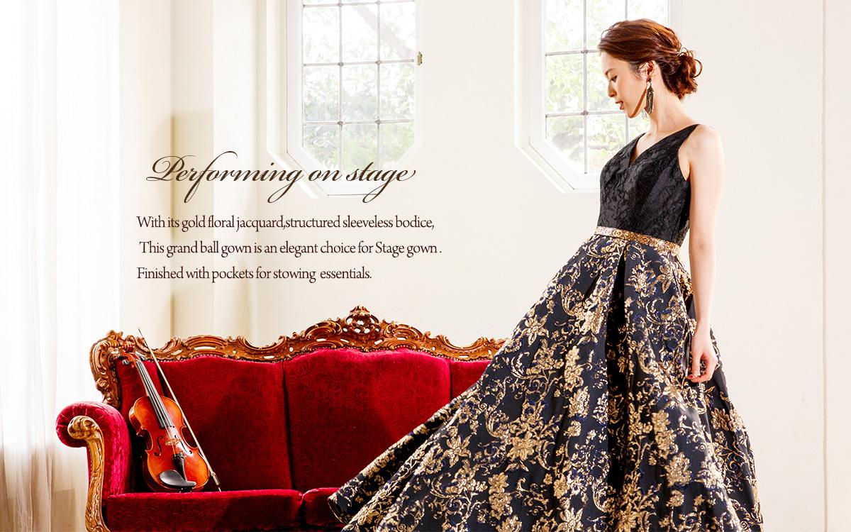 演奏会ヴァイオリン、ピアノ用のロングドレス